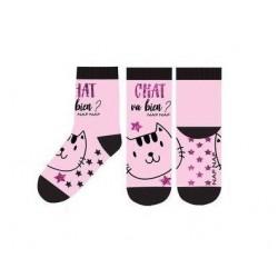 ABS teplé ponožky s kočičkou - růžové