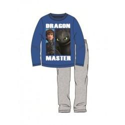 Pyžamo s dl. rukávem + kalhoty Jak vycvičit draka - modro-šedé