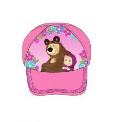 Kšiltovka Máša & medvěd - růžová
