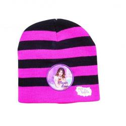 Pruhovaná čepice Violetta  - černo-růžová
