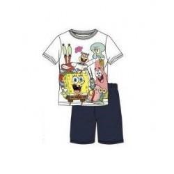 Triko + kraťase Sponge-Bob - bílá + tmavě modrá